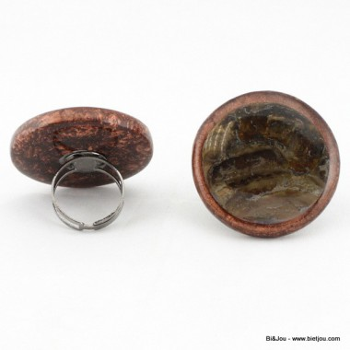Bague Effet nacré résine métal