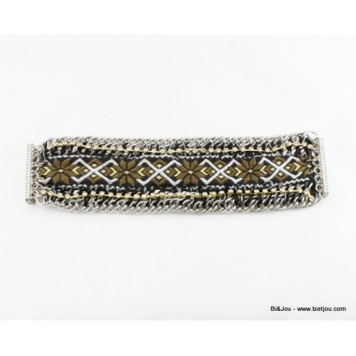 Bracelet améridien métal, polyester, strass