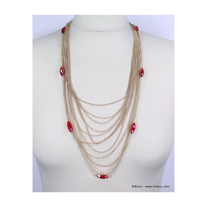 Collier sautoir multi-chaîne et perles de cristal