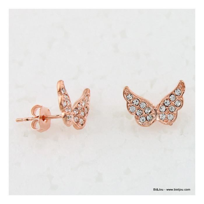Boucles d'oreille papillons remplis de strass