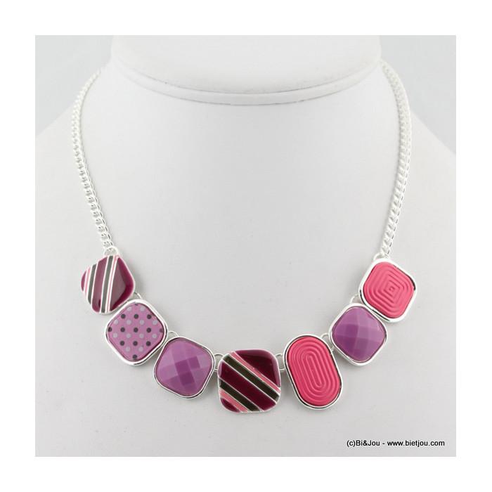 Collier en émail, acrylique et résine aux couleurs acidulées