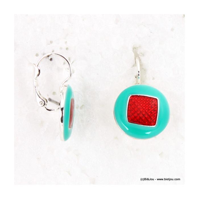 Boucles d'oreille en émail rondes avec un carré