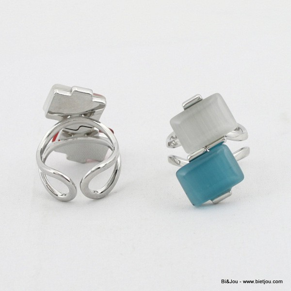 Bague oeil de chat double rectangle